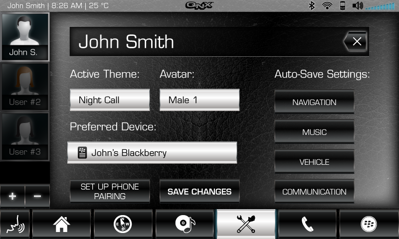 CAR SETTINGS - PERSONALISATION